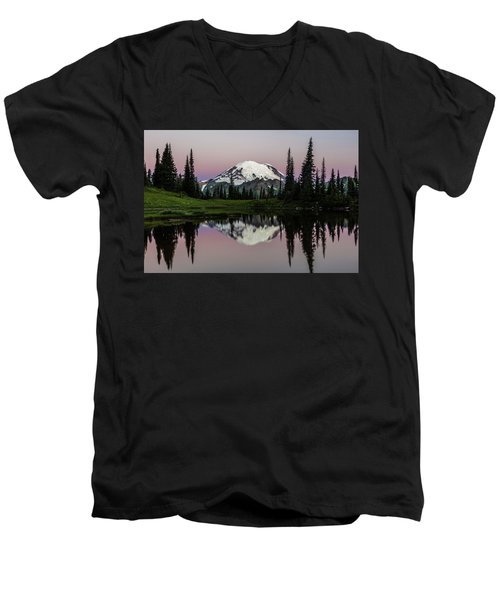 Men's V-Neck T-Shirt featuring the photograph Mount Rainier Alpenglow At Tipsoo Lake by Pierre Leclerc Photography