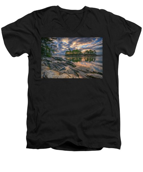 Men's V-Neck T-Shirt featuring the photograph Dawn At Wolfe's Neck Woods by Rick Berk