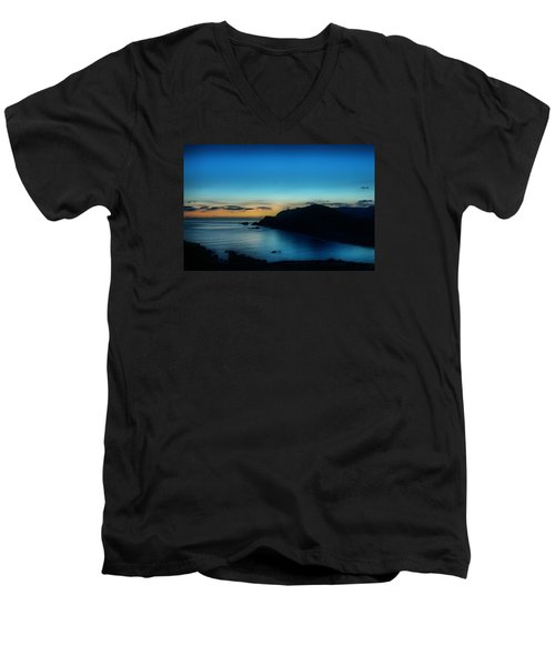 Dawn Blue In Mediterranean Island Of Minorca By Pedro Cardona Men's V-Neck T-Shirt by Pedro Cardona