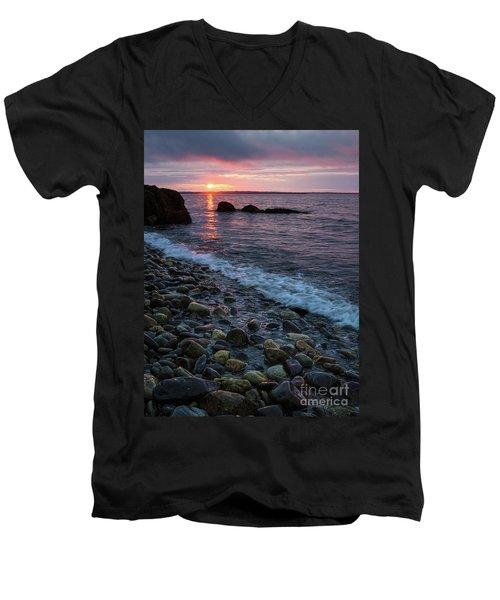 Dawn, Camden, Maine  -18868-18869 Men's V-Neck T-Shirt by John Bald