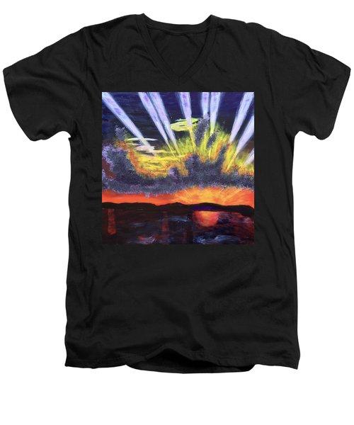 Dawn Men's V-Neck T-Shirt by Donald J Ryker III