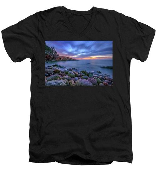 Dawn In Monument Cove Men's V-Neck T-Shirt by Rick Berk