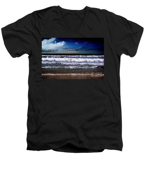 Men's V-Neck T-Shirt featuring the photograph Dawn Of A New Day Seascape C2 by Ricardos Creations