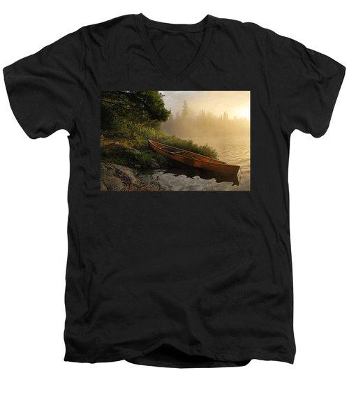 Dawn On Boot Lake Men's V-Neck T-Shirt by Larry Ricker
