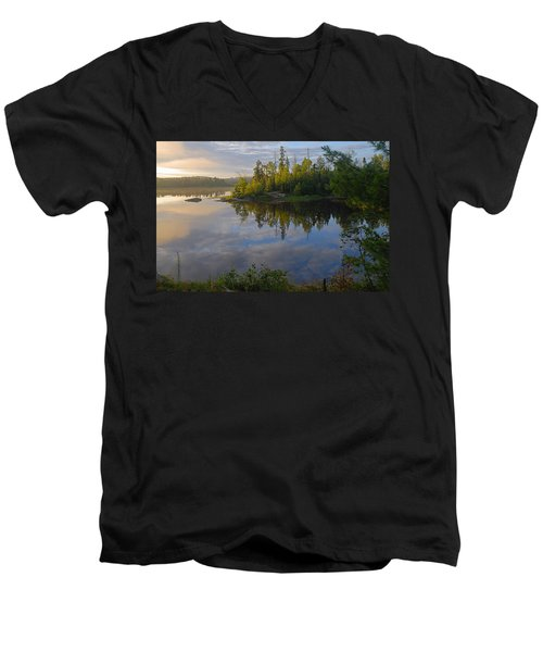 Dawn On The Basswood River Men's V-Neck T-Shirt