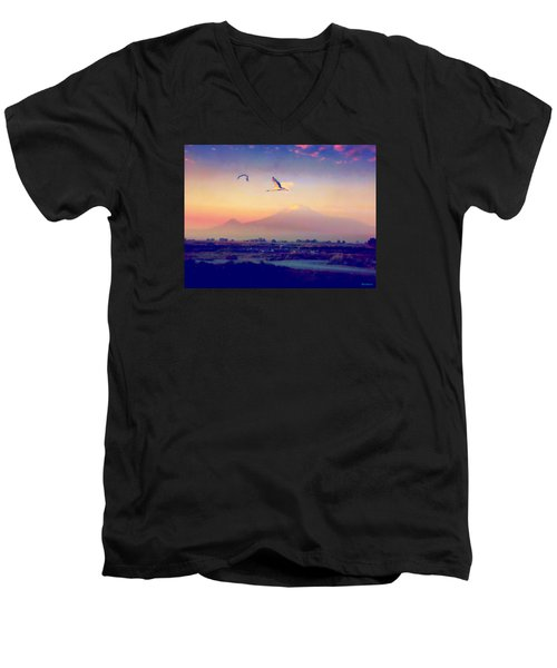 Dawn With Storks And Ararat From Night Train To Yerevan Men's V-Neck T-Shirt by Anastasia Savage Ealy