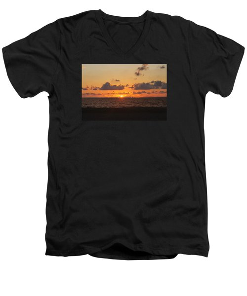 Men's V-Neck T-Shirt featuring the photograph Dawn's Cloud Layers by Robert Banach