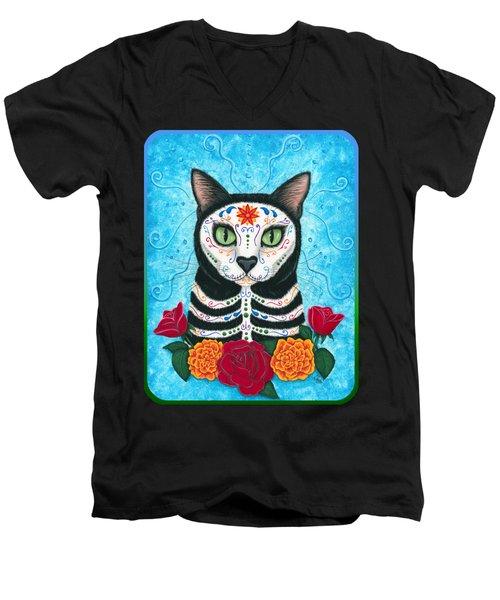 Day Of The Dead Cat - Sugar Skull Cat Men's V-Neck T-Shirt by Carrie Hawks