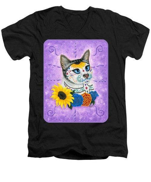 Day Of The Dead Cat Sunflowers - Sugar Skull Cat Men's V-Neck T-Shirt