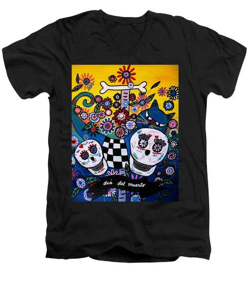 Day Of The Dead Men's V-Neck T-Shirt by Pristine Cartera Turkus