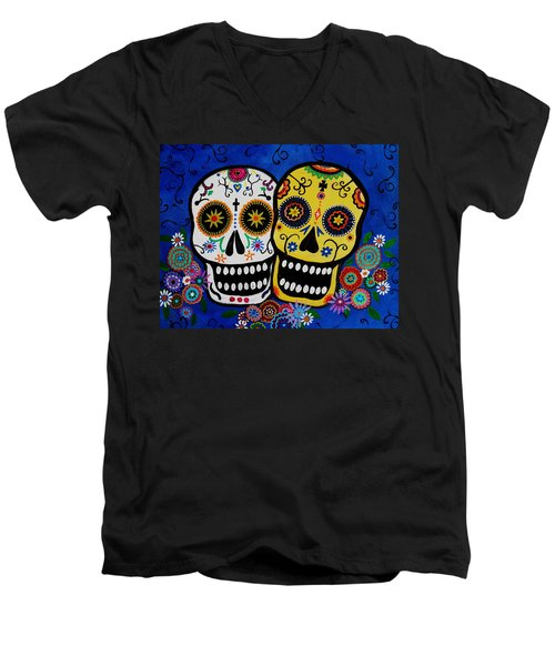 Day Of The Dead Sugar Men's V-Neck T-Shirt by Pristine Cartera Turkus