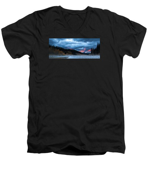 Men's V-Neck T-Shirt featuring the photograph Daybreak by Fran Riley