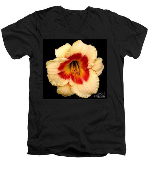 Daylily 3 Men's V-Neck T-Shirt by Rose Santuci-Sofranko