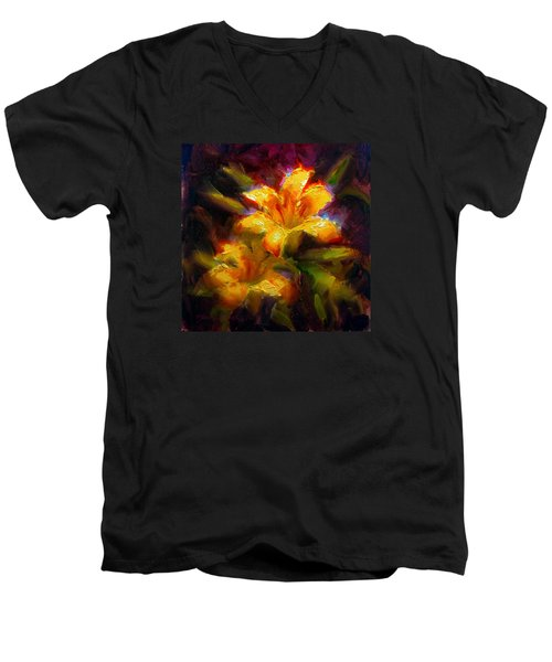 Men's V-Neck T-Shirt featuring the painting Daylily Sunshine - Colorful Tiger Lily/orange Day-lily Floral Still Life  by Karen Whitworth