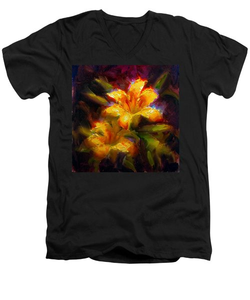 Daylily Sunshine - Colorful Tiger Lily/orange Day-lily Floral Still Life  Men's V-Neck T-Shirt