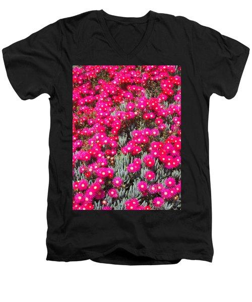 Dazzling Pink Flowers Men's V-Neck T-Shirt