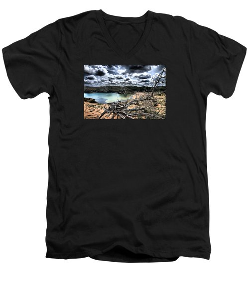 Dead Nature Under Stormy Light In Mediterranean Beach Men's V-Neck T-Shirt by Pedro Cardona