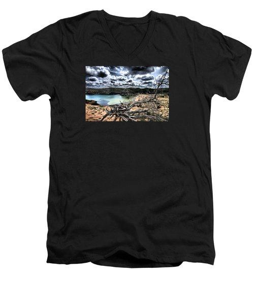 Dead Nature Under Stormy Light In Mediterranean Beach Men's V-Neck T-Shirt