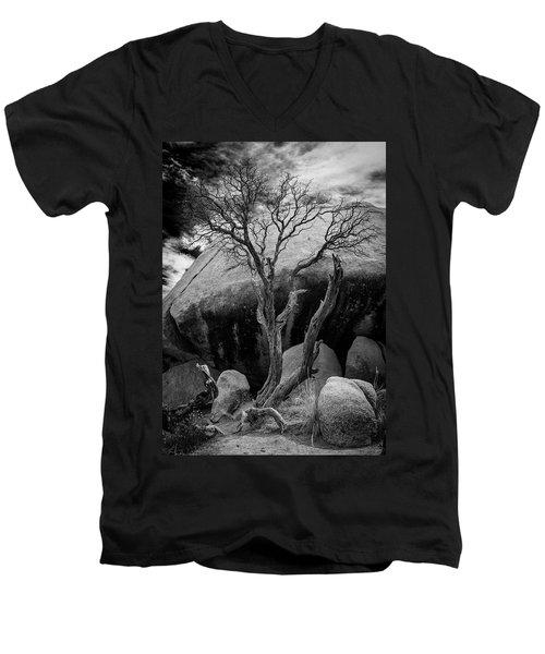 Dead Tree And Boulder At Joshua Tree Men's V-Neck T-Shirt