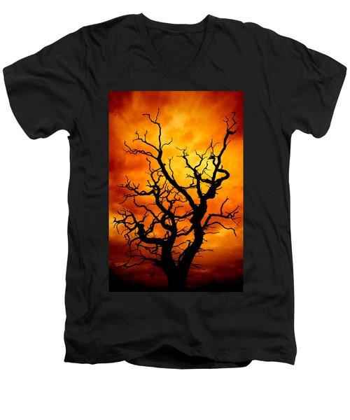 Dead Tree Men's V-Neck T-Shirt by Meirion Matthias