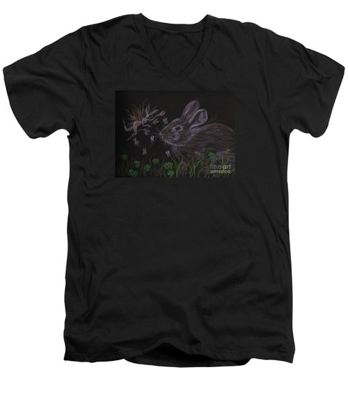 Men's V-Neck T-Shirt featuring the drawing Dearest Bunny Eat The Clover And Let The Garden Be by Dawn Fairies