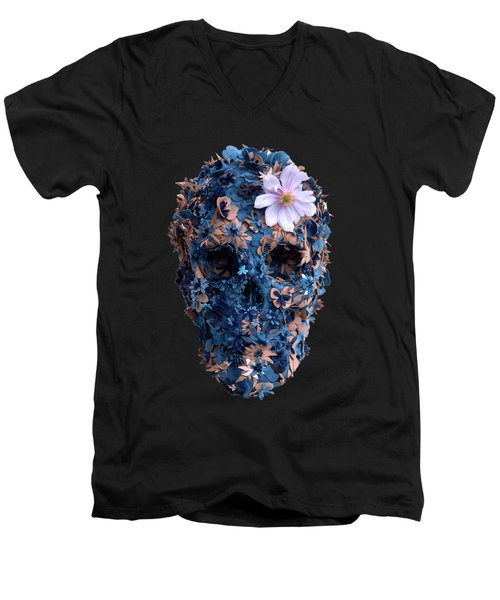 Skull 9 T-shirt Men's V-Neck T-Shirt by Herb Strobino