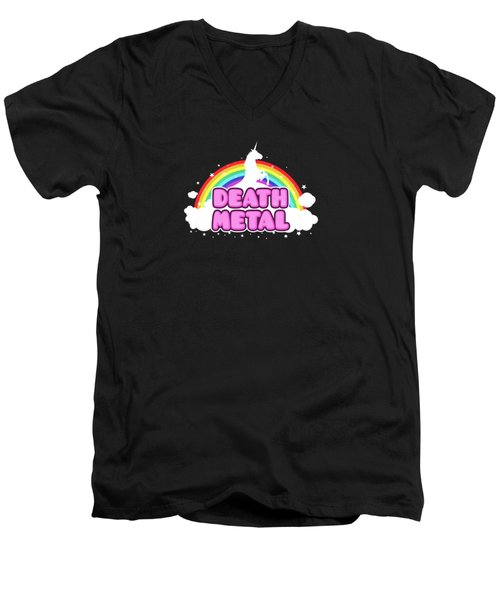 Death Metal Funny Unicorn  Rainbow Mosh Parody Design Men's V-Neck T-Shirt by Philipp Rietz