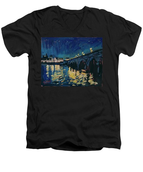 December Lights At The Old Bridge Men's V-Neck T-Shirt by Nop Briex