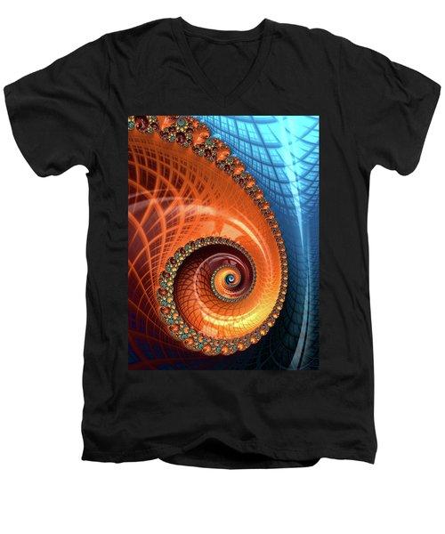 Men's V-Neck T-Shirt featuring the digital art Decorative Fractal Spiral Orange Coral Blue by Matthias Hauser