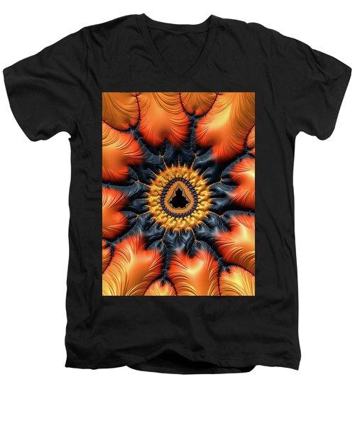 Men's V-Neck T-Shirt featuring the digital art Decorative Mandelbrot Set Warm Tones by Matthias Hauser
