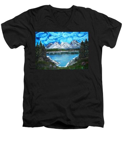 Deep Mountain Lake Men's V-Neck T-Shirt by Valerie Ornstein