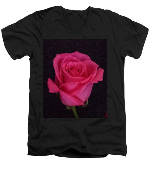 Deep Pink Rose On Black Men's V-Neck T-Shirt