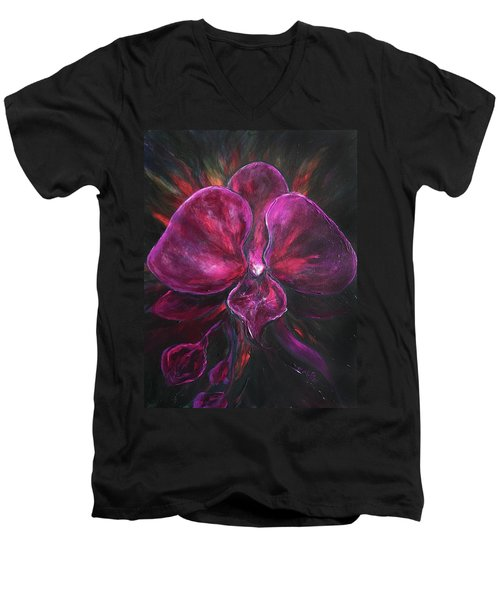 Deep Purple Orchid Men's V-Neck T-Shirt