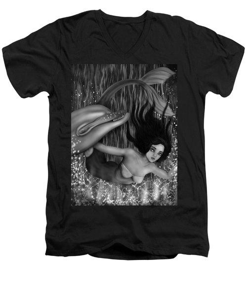 Deep Sea Mermaid - Black And White Fantasy Art Men's V-Neck T-Shirt
