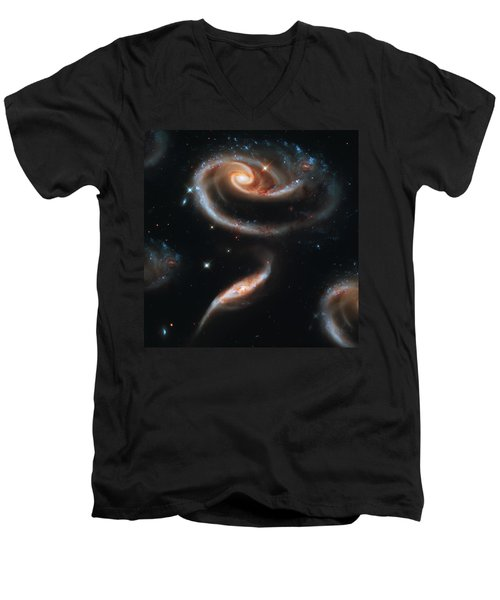 Deep Space Galaxy Men's V-Neck T-Shirt by Jennifer Rondinelli Reilly - Fine Art Photography