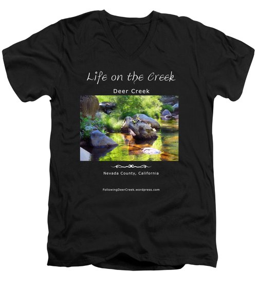 Deer Creek Ferns - White Text Men's V-Neck T-Shirt