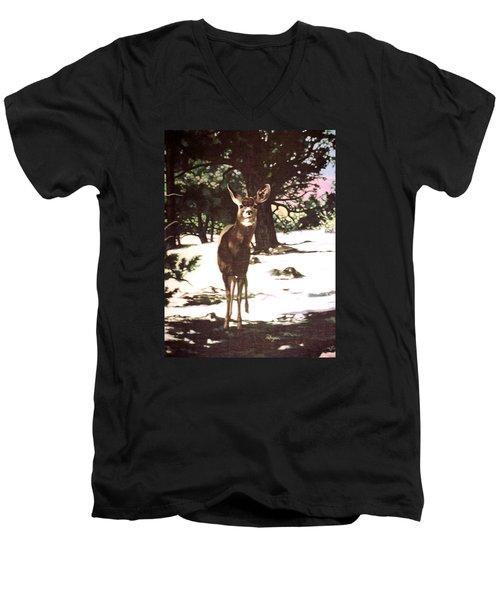 Deer In Snow Men's V-Neck T-Shirt by Vivien Rhyan