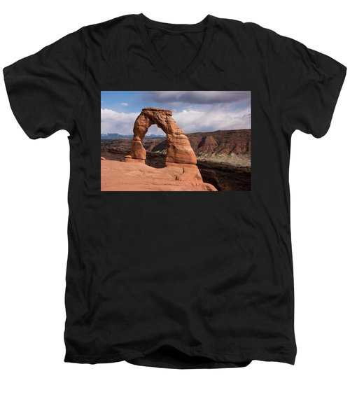 Men's V-Neck T-Shirt featuring the photograph Delicate Arch by Jennifer Ancker