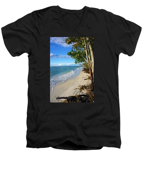 Men's V-Neck T-Shirt featuring the photograph Delnor Wiggins Pass State Park by Robb Stan