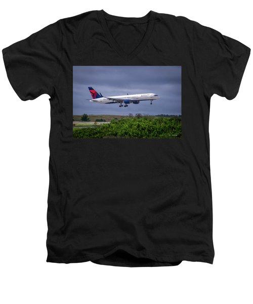 Delta Air Lines 757 Airplane N557nw Art Men's V-Neck T-Shirt by Reid Callaway
