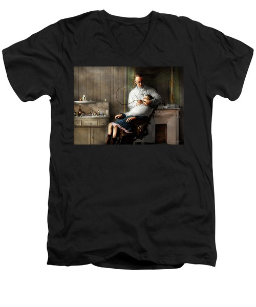 Men's V-Neck T-Shirt featuring the photograph Dentist - Good Oral Hygiene 1918  by Mike Savad