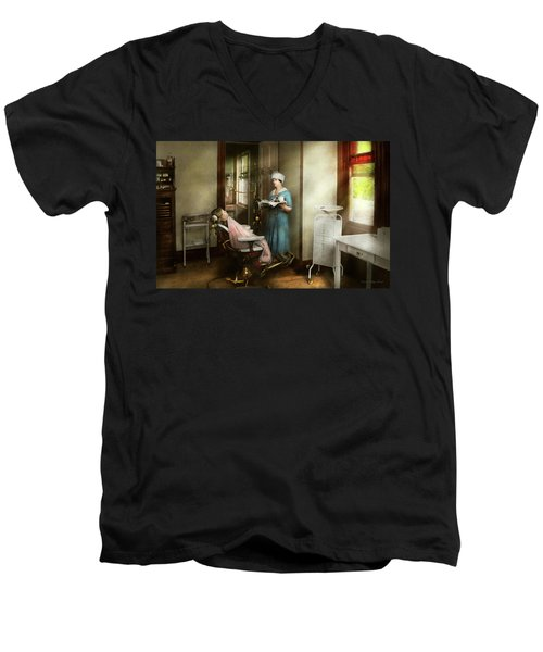 Men's V-Neck T-Shirt featuring the photograph Dentist - Patients Is A Virtue 1920 by Mike Savad