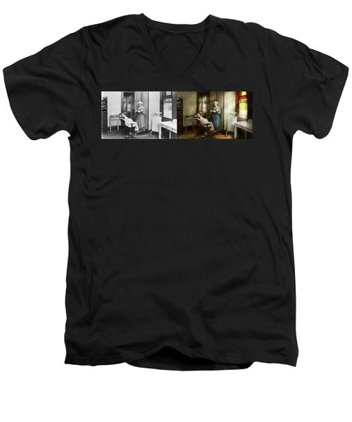 Men's V-Neck T-Shirt featuring the photograph Dentist - Patients Is A Virtue 1920 - Side By Side by Mike Savad