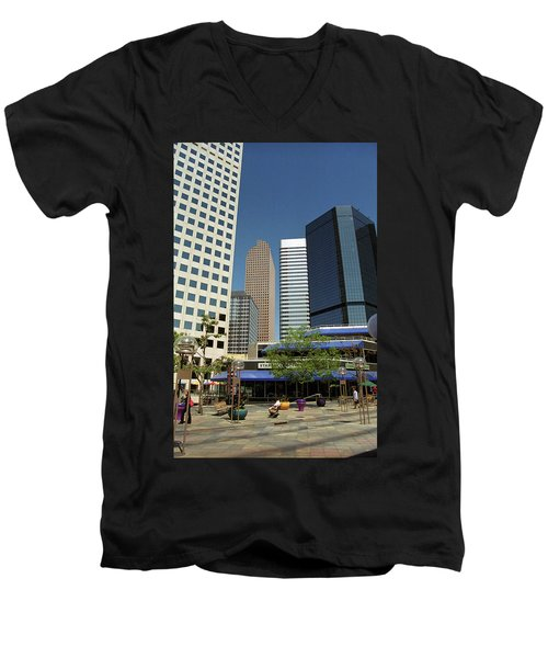 Men's V-Neck T-Shirt featuring the photograph Denver Architecture by Frank Romeo
