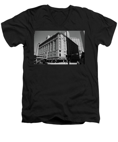 Denver Downtown Bw Men's V-Neck T-Shirt by Frank Romeo
