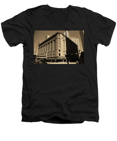 Men's V-Neck T-Shirt featuring the photograph Denver Downtown Sepia by Frank Romeo