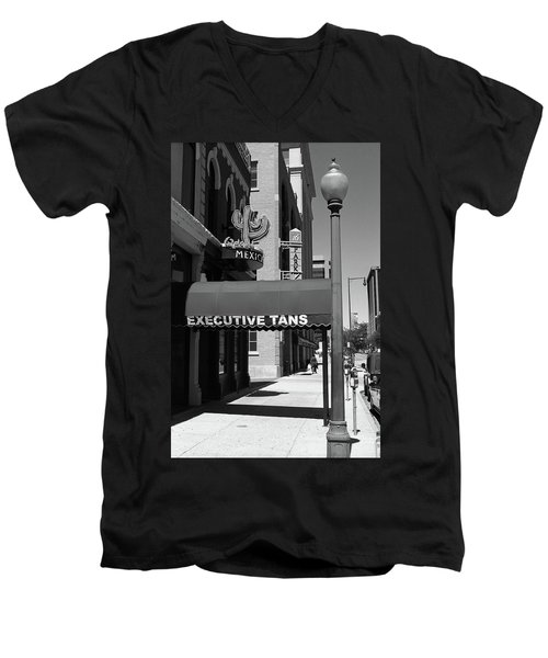 Denver Downtown Storefront Bw Men's V-Neck T-Shirt by Frank Romeo