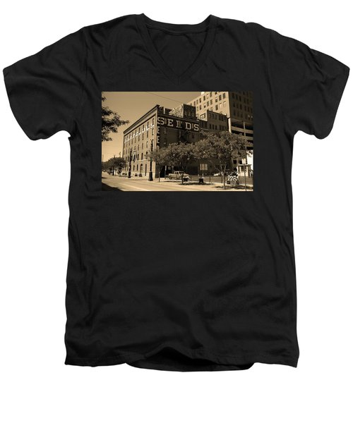 Men's V-Neck T-Shirt featuring the photograph Denver Downtown Warehouse Sepia by Frank Romeo