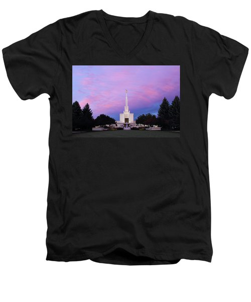 Denver Lds Temple At Sunrise Men's V-Neck T-Shirt
