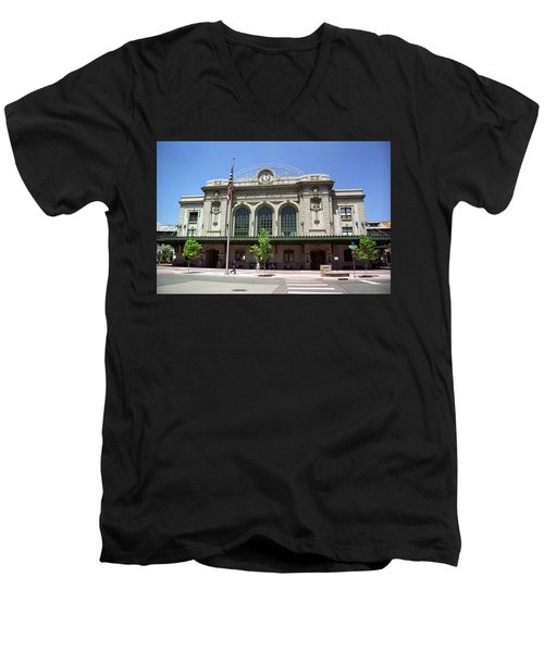 Men's V-Neck T-Shirt featuring the photograph Denver - Union Station Film by Frank Romeo